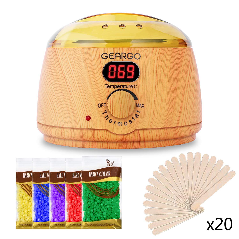 Scaldacera Professionale, GEARGO 500ml Kit Depilazione Con Cera, Schermo Leggibile, Temperatura Registrabile, 5 * 100g Sacchetti di Cera +20 Spatole