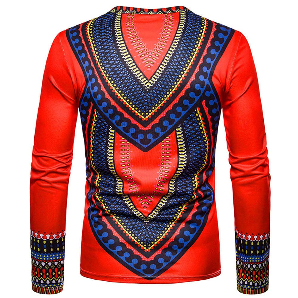aae4b03edee WUAI Men s Casual Shirts African Indian Print Dashiki Long Sleeve Pullover  Fashion Personality Slim Fit Top Blouse at Amazon Men s Clothing store