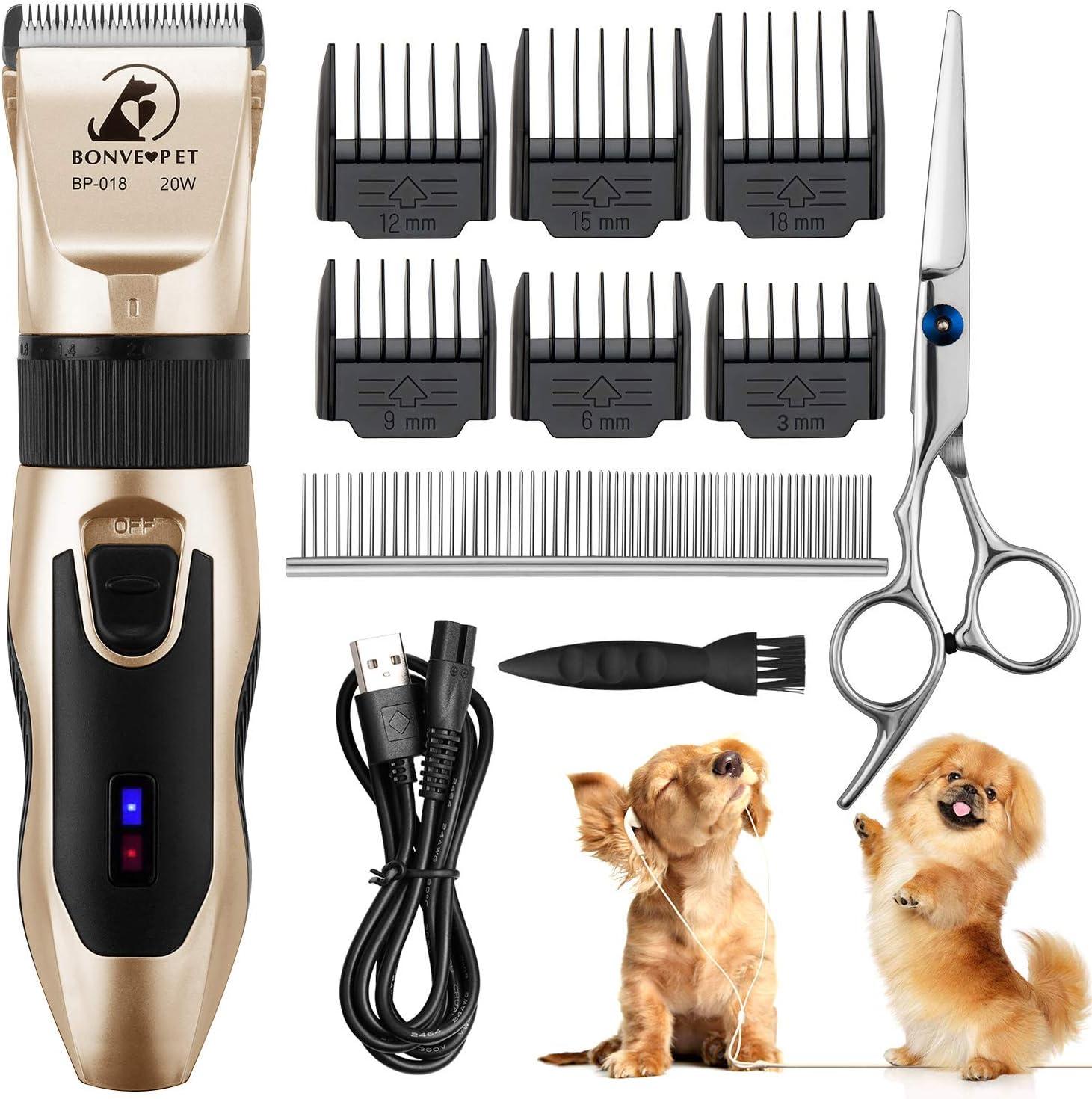 Bonve Pet Cortapelo para Perros y Gatos, Cortapelo para Perros Gatos Mascotas Profesional, Bajo Ruido Menos de 50db, Batería Recargable, con 11 Accesorios, Cargador, Base de Carga