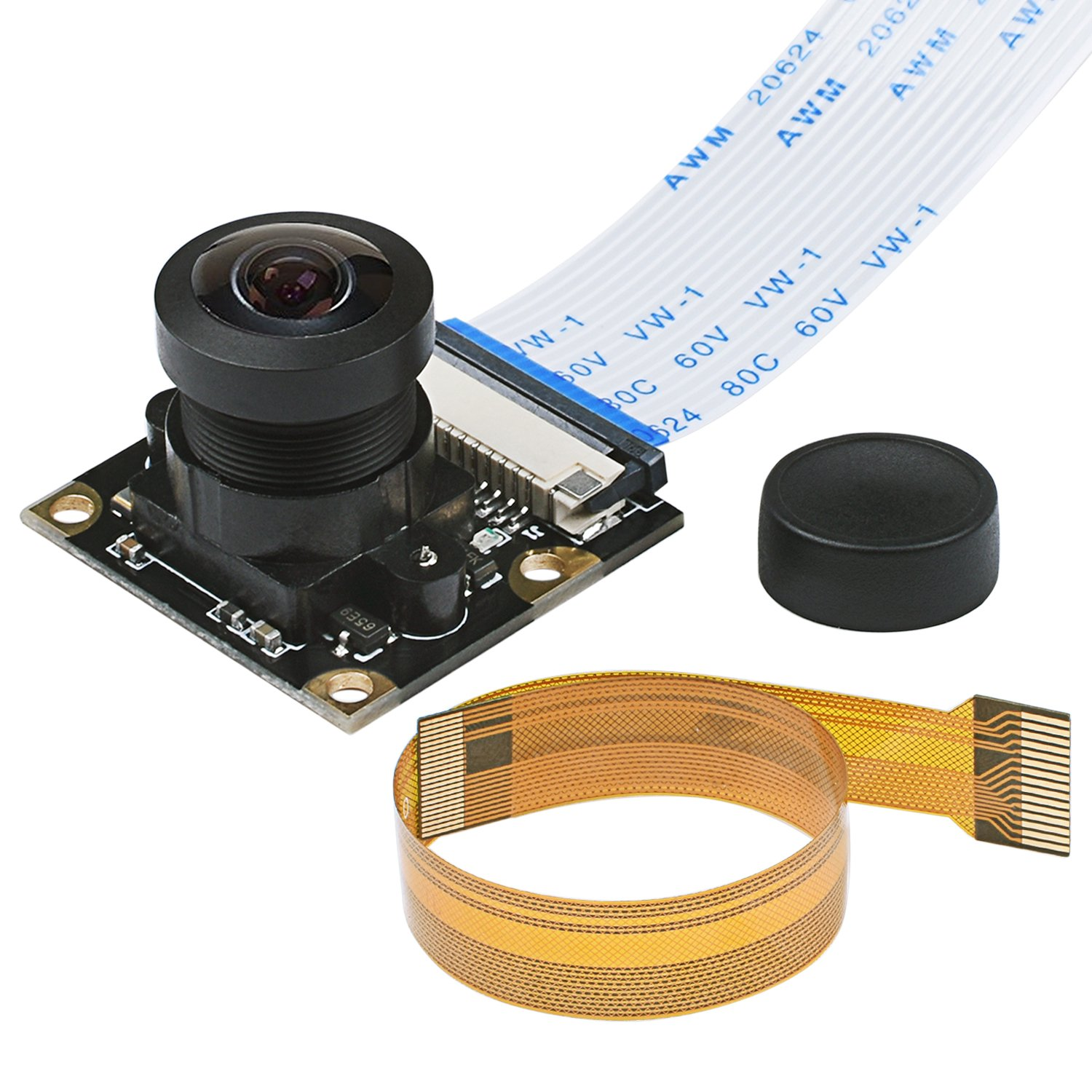 Miuzei Raspberry Pi Camera Module, Wide-Angel Fish-Eye Camera Lenses, OV5647 Sensor with Pi Zero Ribbon Cable & FPC Cable for Raspberry Pi 3B+, 3B, 2B, Zero by Miuzei