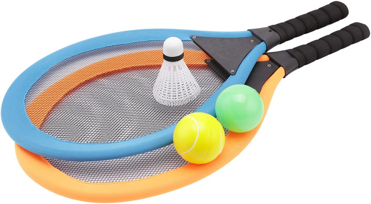 fashionclubs Kids Tennis Racket Set, Plastic Badminton Tennis Rackets Balls Set,Kids Racket Racquet Play Game Toy Set,Play at The Beach,Lawn or Backyard