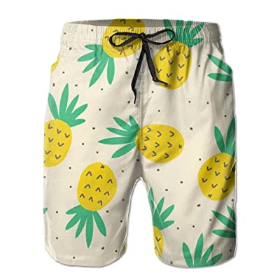 Pineapples Men's Quick Dry Beach Board Shorts Summer Swim Trunks for Father's Day for Boy Swimming X-Large|Pineapple Logo