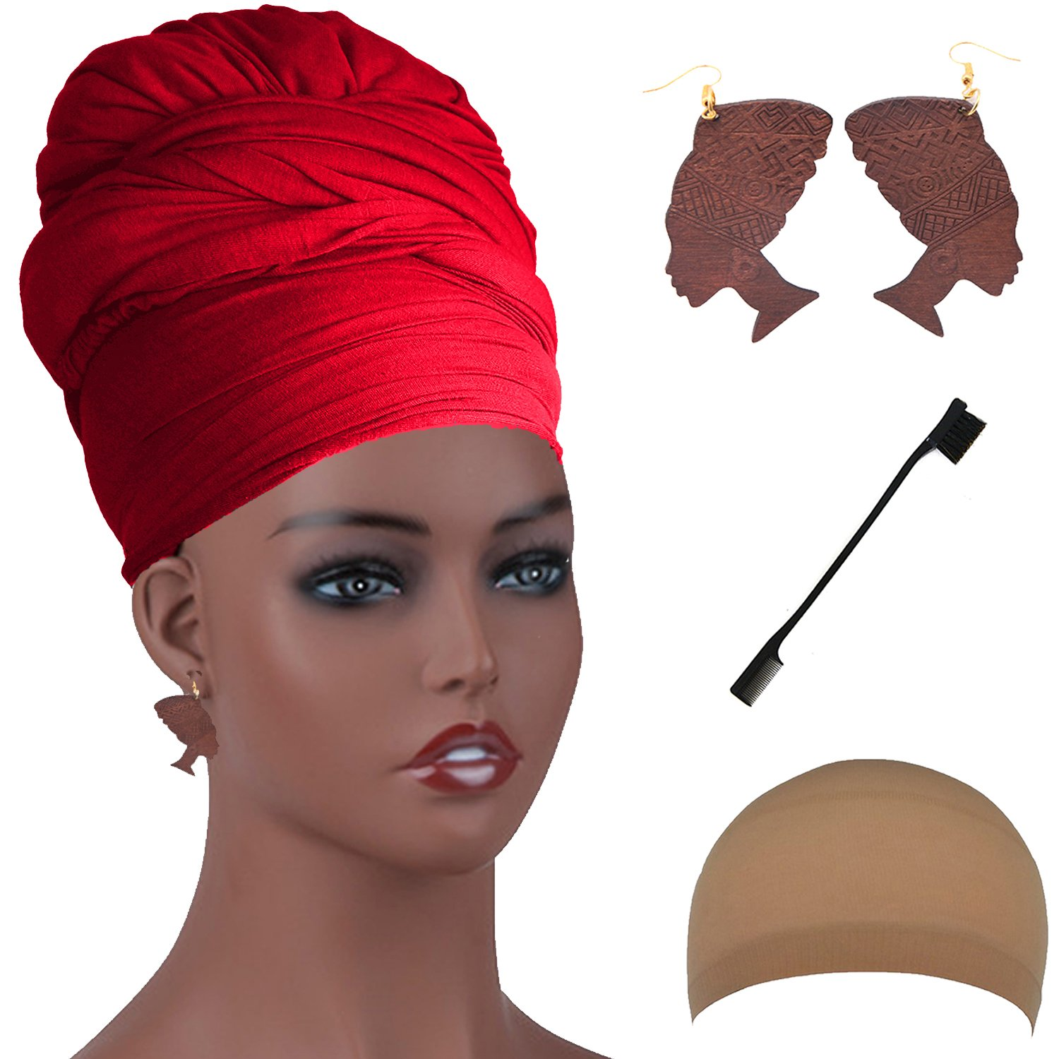 Long Stretch Head Wrap Set- Solid Color African Turban Hair Scarf Tie, Double Sided Edge Control Hair Brush Comb Combo,Wooden Colored Turban African Woman Earrings,Wig Cap (OneSize, Red)
