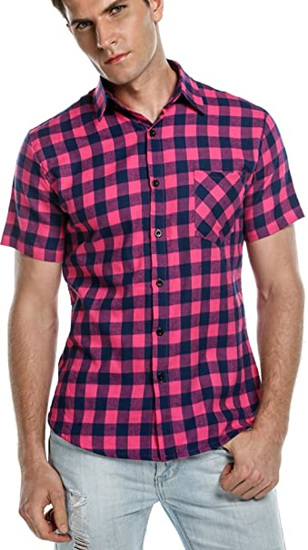 Bluetime Men S Short Sleeve T Shirts Casual Button Down Plaid Shirts