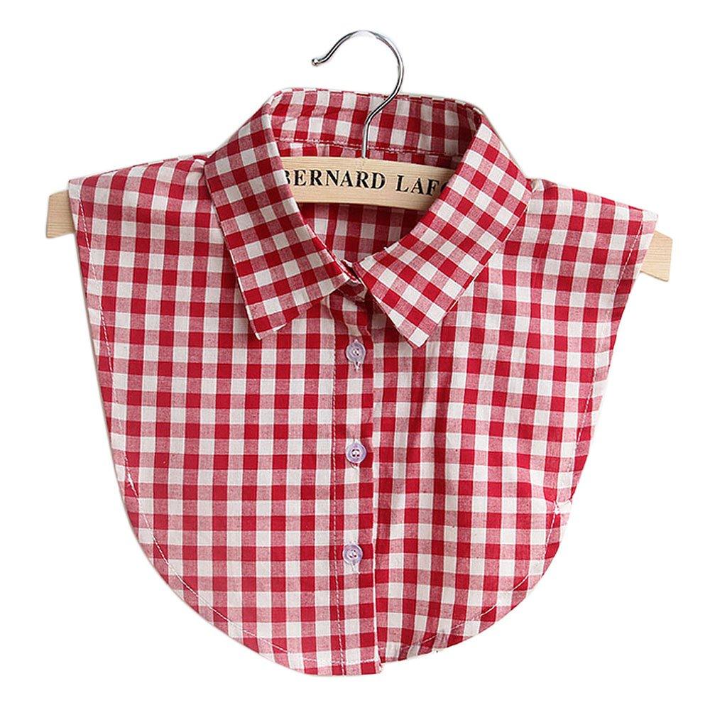 Mujeres damas casual Plaid algodó n falso collar DIY blusa vestido de la ropa de cuello falso Beetest