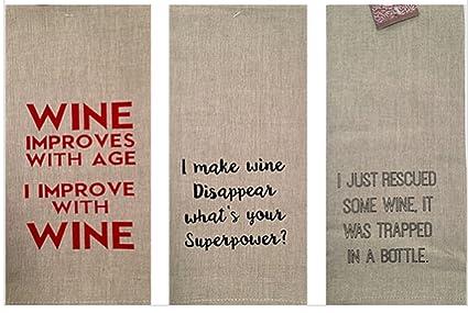Amazon Com Set Of 3 Linen Wine Kitchen Towels Wine Lovers