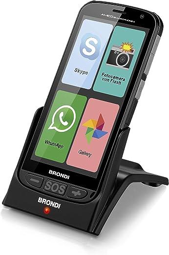 Brondi Amico Smartphone +, versione aggiornata con base di ricarica, Telefono Cellulare per Anziani GSM DUAL SIM con Tasti Grandi, Funzione SOS, Controllo Remoto, Volume Alto, Nero
