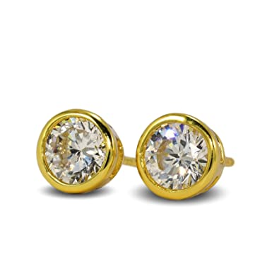 Blue Diamond Club - Simulated White Diamond 7mm 24ct Gold Filled Bezel Stud Earrings Mens Womens 24K G/F 6yWbI6