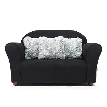 Chair and Ottoman Sofa Keet Plush Childrens Set Grey//Pink