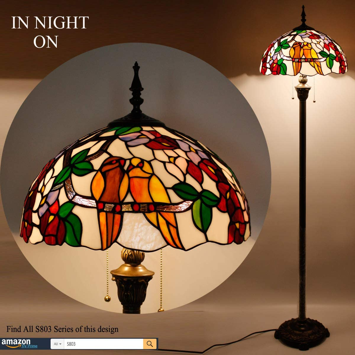Stained Glass Lamp Blue White Baroque Tiffany Style Table Light 2E26 1E12 W16H22 Inch Night Light Antique Base for Living Room Bedroom Bedside Desk Light S003B WERFACTORY