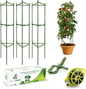 Grae's Garden Tomato Cages and Supports for Garden - 3 Pack Stakes and Supports for Plants, Peony, and Vegetables - with 328 ft Twist Tie and Plant Clips