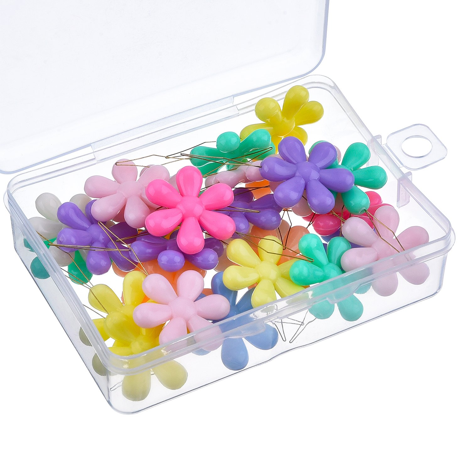 TecUnite 30 Pieces Multicolor Plastic Flower Head Wire Loop Needle Threader with Clear Box product image