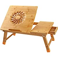 Nnewvante Laptop Desk Adjustable Laptop Desk Table 100% Bamboo with USB Fan Foldable Breakfast Serving Bed Tray w…