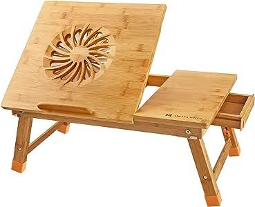 Laptop Desk Newvante Adjustable Laptop Desk Table 100% Bamboo with USB Fan Foldable Breakfast Serving Bed Tray w' Drawer
