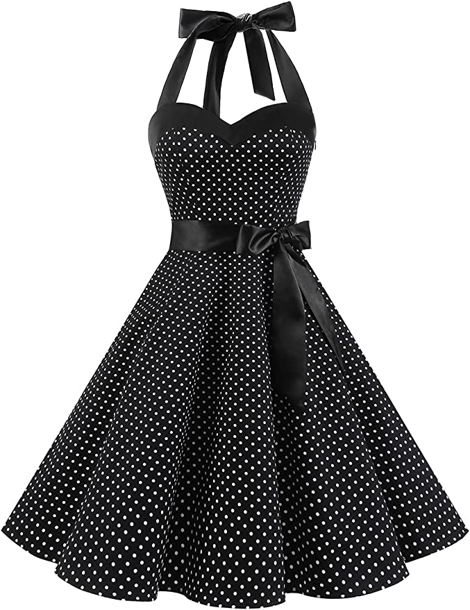 TALLA L. DRESSTELLS® Halter 50s Rockabilly Polka Dots Audrey Dress Retro Cocktail Dress Black Rose