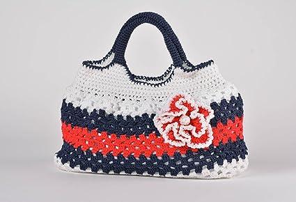 Bolso tejido a mano artesanal multicolor calado bonito original para mujer: Amazon.es: Hogar
