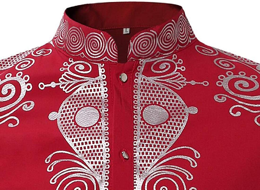 UUYUK Men Long Sleeve Casual Stand Collar African Print Button Down Dress Shirt