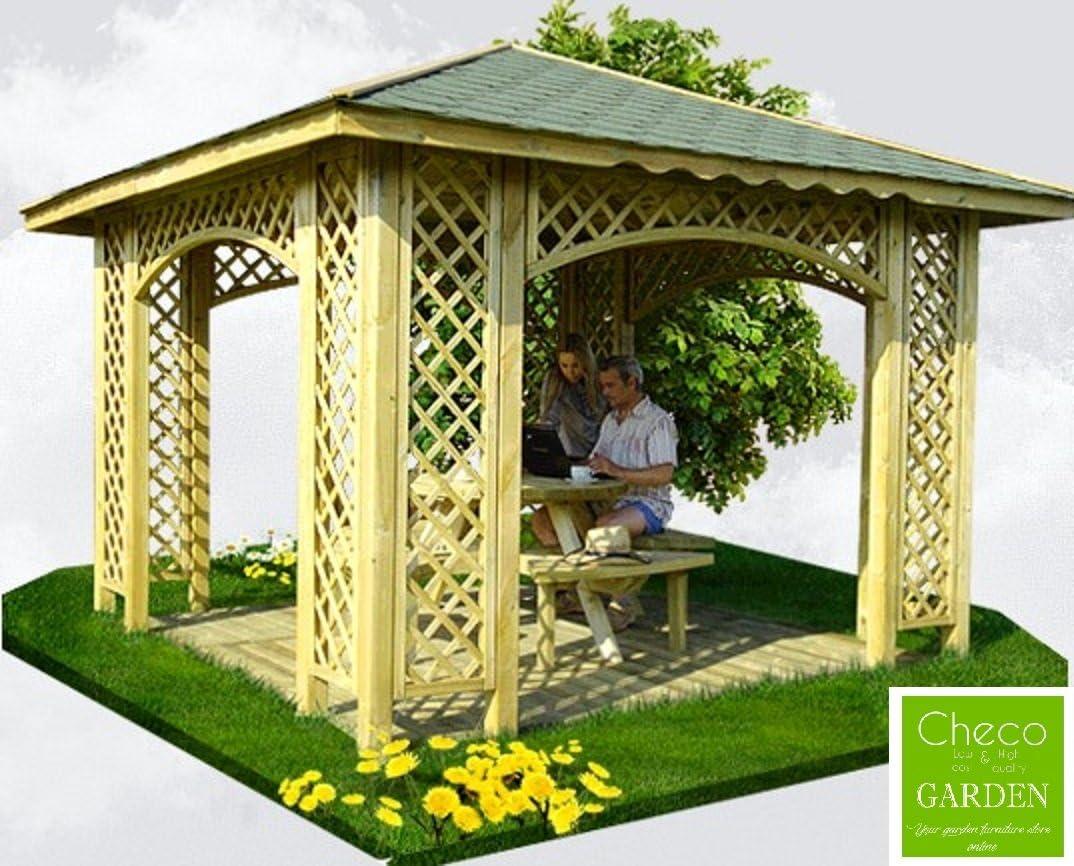 Pérgola de 3 m x 3 m para jardín, de madera, con celosía, con ...