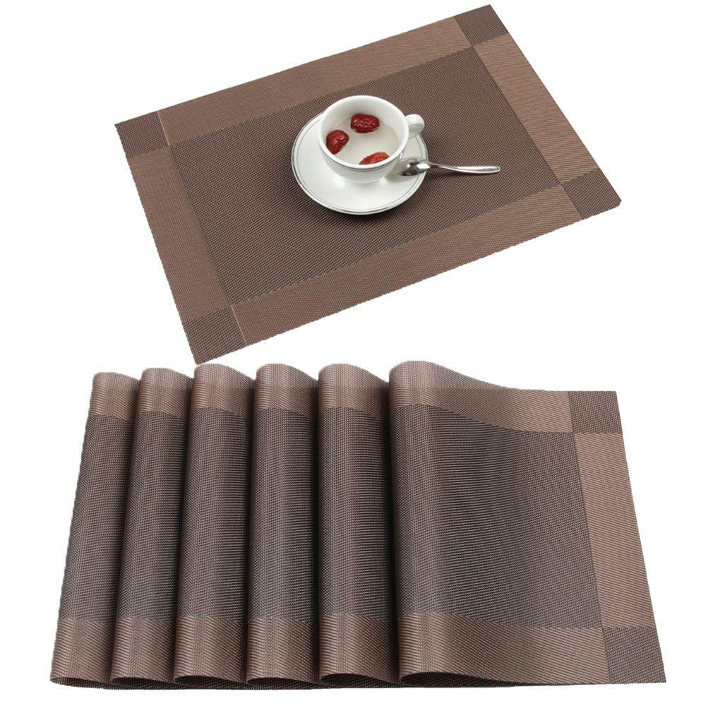 Famibay Place Mats Set of 4 PVC Non Slip Dining room Table Placemats Heat Insulation Washable Dinner Table Protector Table Mats Fmibay