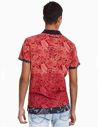 Desigual Polo TRAZE Rojo de Hombre L Rojo: Amazon.es: Ropa y ...