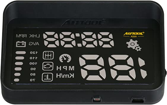 AUTOOL OBD2 HUD Windshield Computer Display Overspeed Waring Code Reader MPH/&KMH