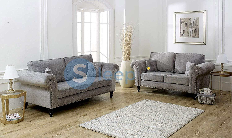 sleepkings New Mayfair Sofa Set Grey & Beige Stone 6+6 French