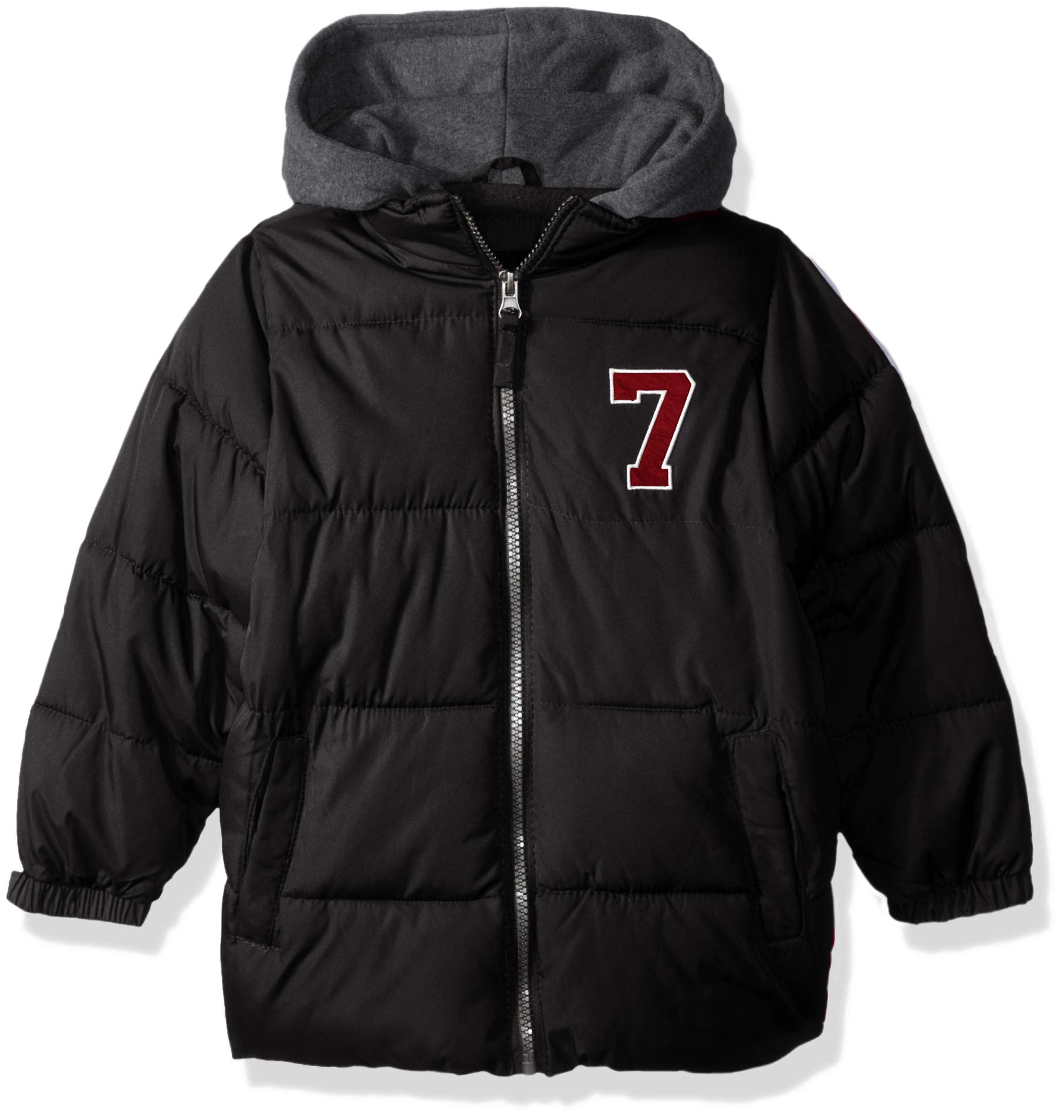 iXtreme Boys' Big Puffer Jacket with Fleece Hood, Black, 14/16