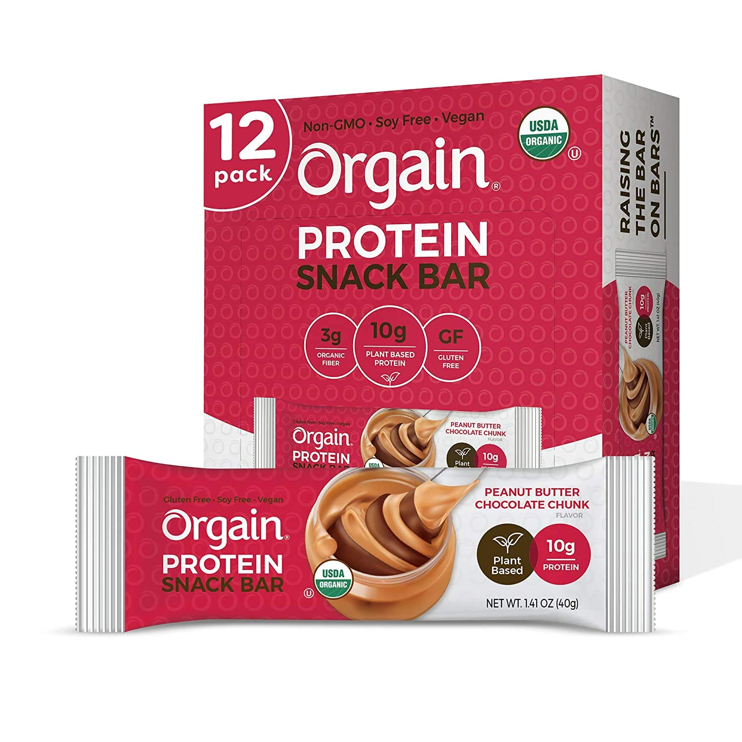 Orgain Organic Plant Based Protein Bar, Peanut Butter Chocolate Chunk - Vegan, Gluten Free, Non Dairy, Soy Free, Lactose Free, Kosher, Non-GMO, 1.41 Ounce, 12 Count (Packaging May Vary)