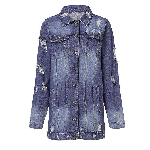 masrin Frauen zerrissen Langen Denim-Mantel Damen lässige Jacke Outwear Jeans Mantel