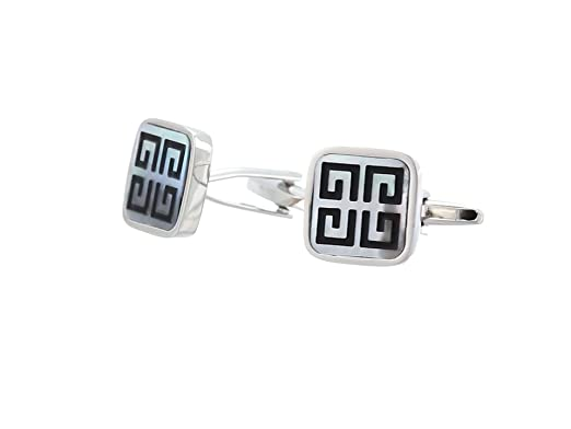 Stacy Adams Mens Square with Mother Of Pearl Cuff Link Stud Set, Gold, One Size