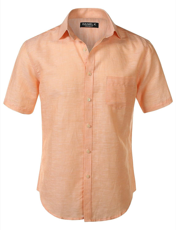 7 Encounter Mens Slim-Fit Linen Short Sleeve Shirt
