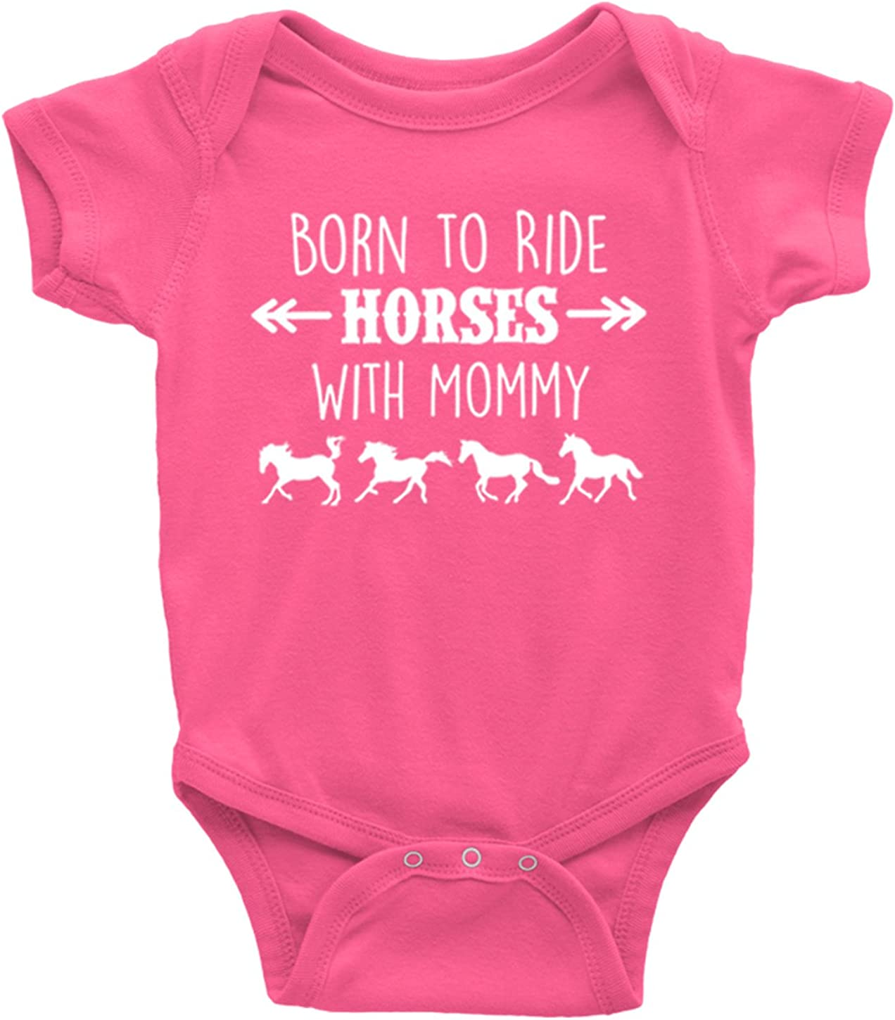 Baby Boy or Girl Born to Ride Horses with Mommy Short Sleeve Horse Bodysuit