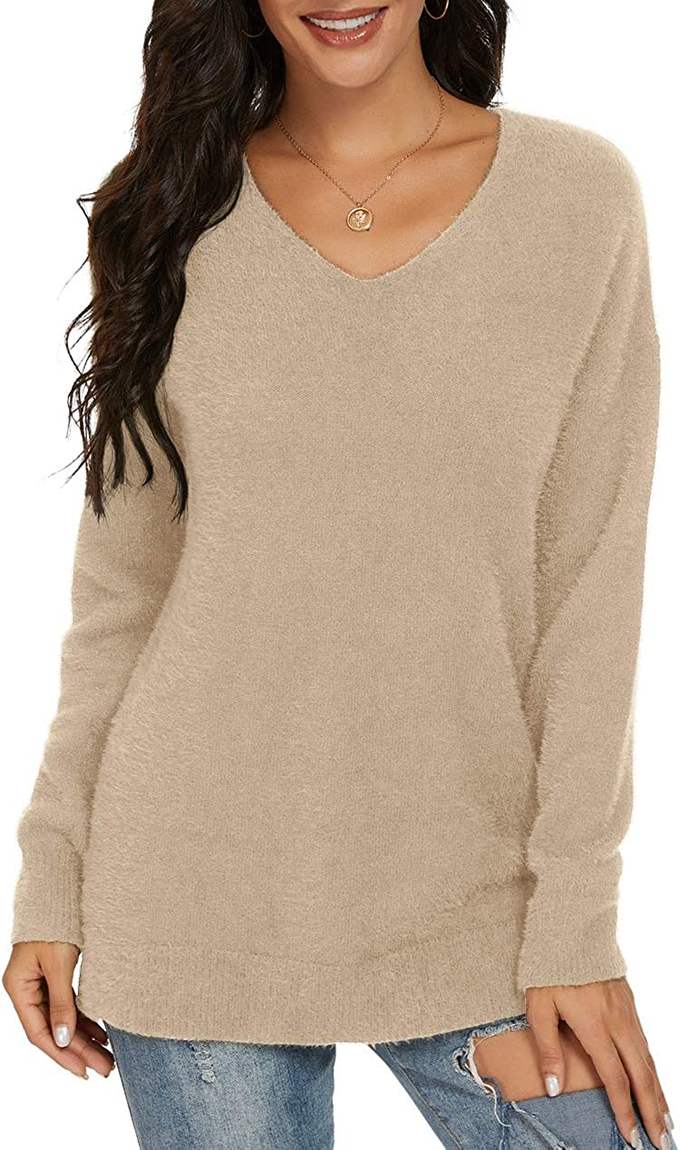 QIXING Women's Casual V-Neck Long Sleeves Side Split Loose Fit Fuzzy Knit Pullover Sweater Tops