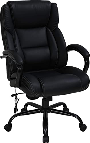 Big Tall Heavy Duty Executive Chair 500 Lbs Heavyweight Rated Black PU Leather Task Rolling Swivel Ergonomic Executive Office Chair