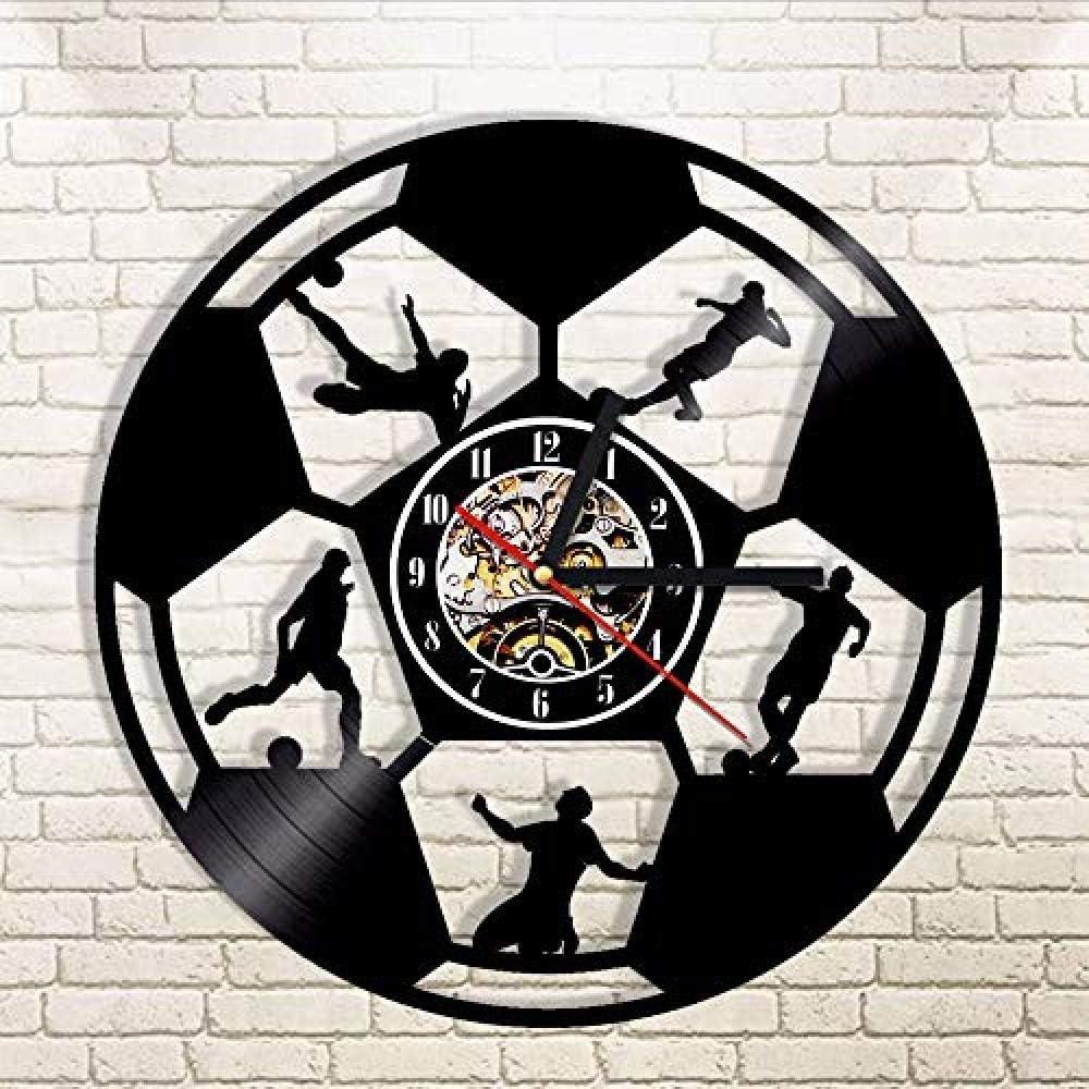 TPFEI Record Vinyl Wall Clock 1 Pieza Fútbol Balón De Fútbol SiluetaLuz LED Deporte Disco Vinilo Relacionado con Rego De Regalo en The Party Lover Futant