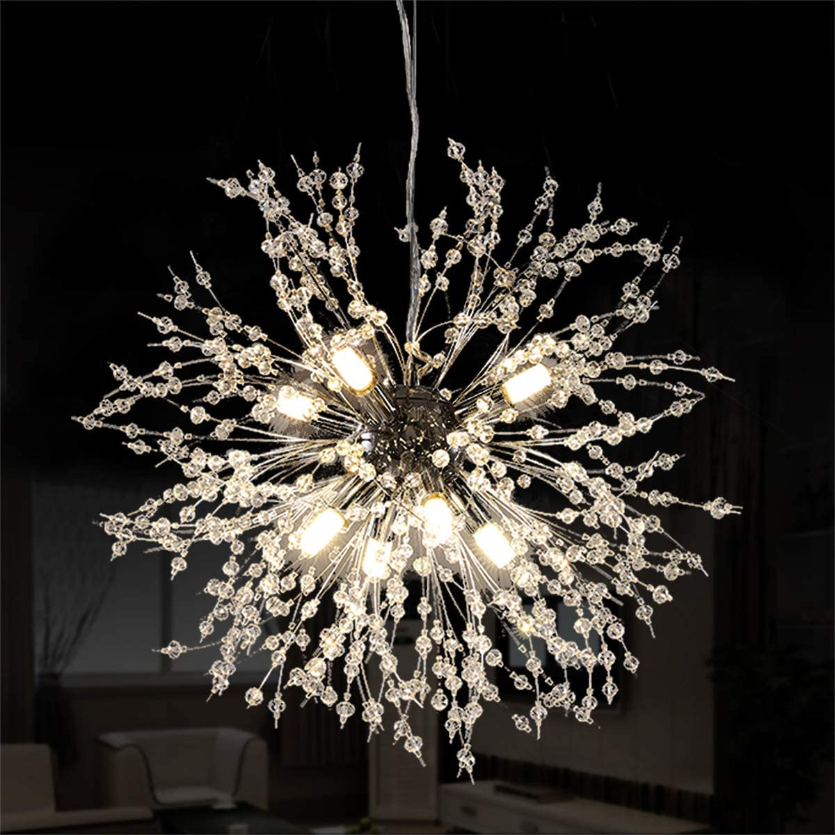 Ganeed Firework Chandeliers,LED Crystal Modern Pendant Lighting with 8 Lights,Stanless Steel Ceiling Light Fixtures Pendant Lamp for Living Room Bedroon Restaurant, Dia15.7 inch,Chrome