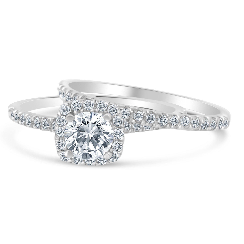 Amazon.com: Anillo de compromiso con halo de diamante de 1 ...
