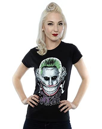 Suicide Squad Womens Joker Coloured Smile T-Shirt X-Small Black
