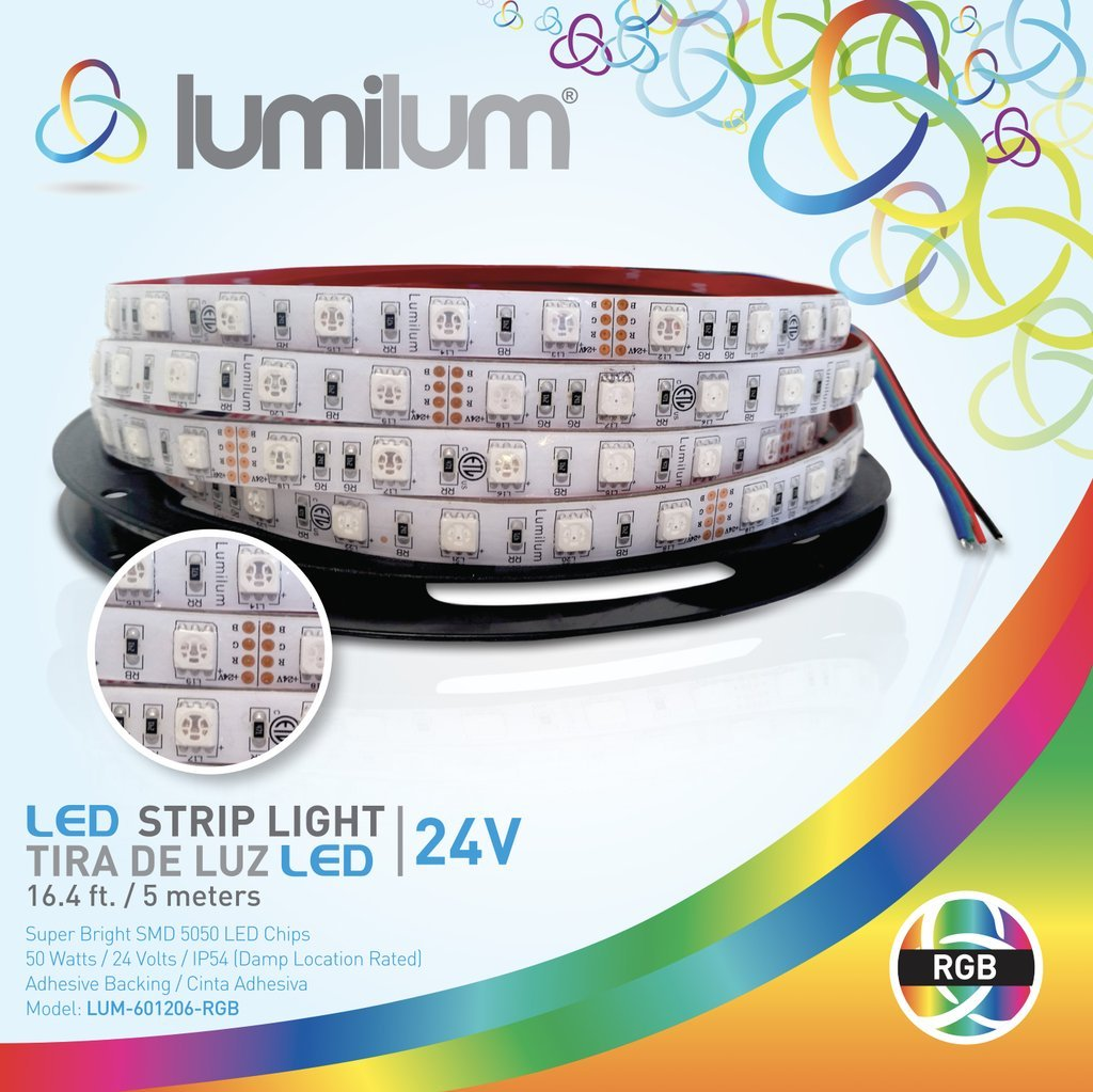 Lumilum 16,4ft (5m) LED Strip Light 24V Low Voltage Series (RGB Multi Color Change) SMD 5050 chips, Fully Certified, Commercial Grade, 50,000 hours Tested, Dimmable, IP54 Rated, Indoor and Outdoor Use