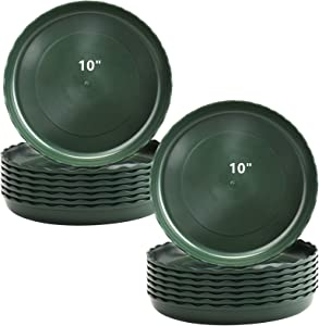 Yopay 16 Pack Plant Saucer, 10 Inch Plastic Plant Saucer Drip Trays, Flower Pot Set for Indoor Outdoor Garden, Green