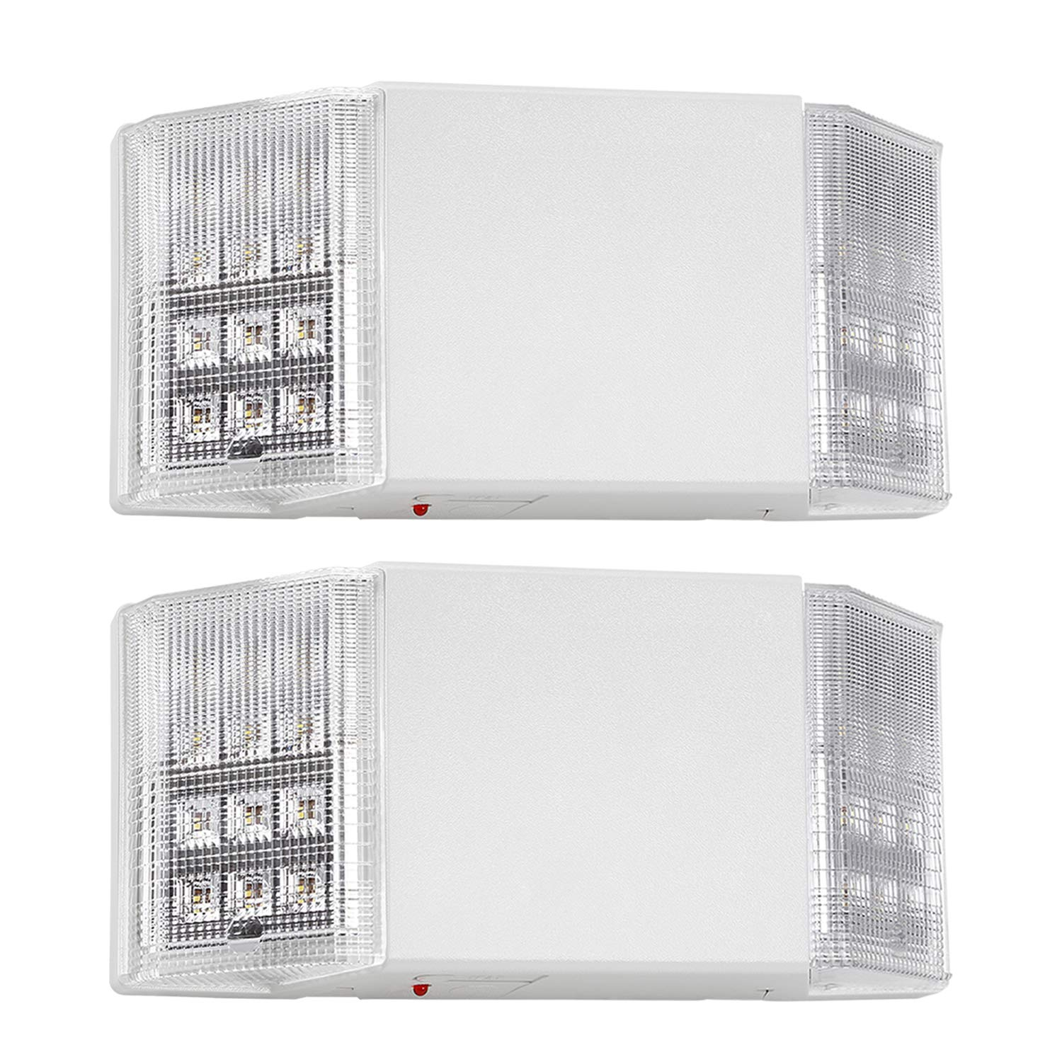 TORCHSTAR LED Emergency Exit Light with Battery Backup UL-Listed, 120V/277V Input, High Light Output for Hallways/Corridors/Stairways, 2 Pack