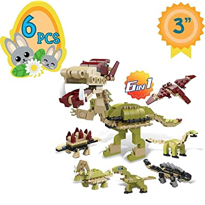 "Totem World 6 Filled Easter Egg Building Toys - Dinosaur Set - Age 6-12 Learning Educational Inside 3"" Large Plastic Egg - Great for Dino Easter Basket Stuffers - Combine to Build a Tyrannosaurus: Toys & Games"