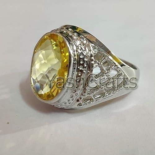 Handmade ring 925 Sterling Silver November Birthstone Citrine Gemstone  Ring Citrine yellow Gemstone Gold Ring