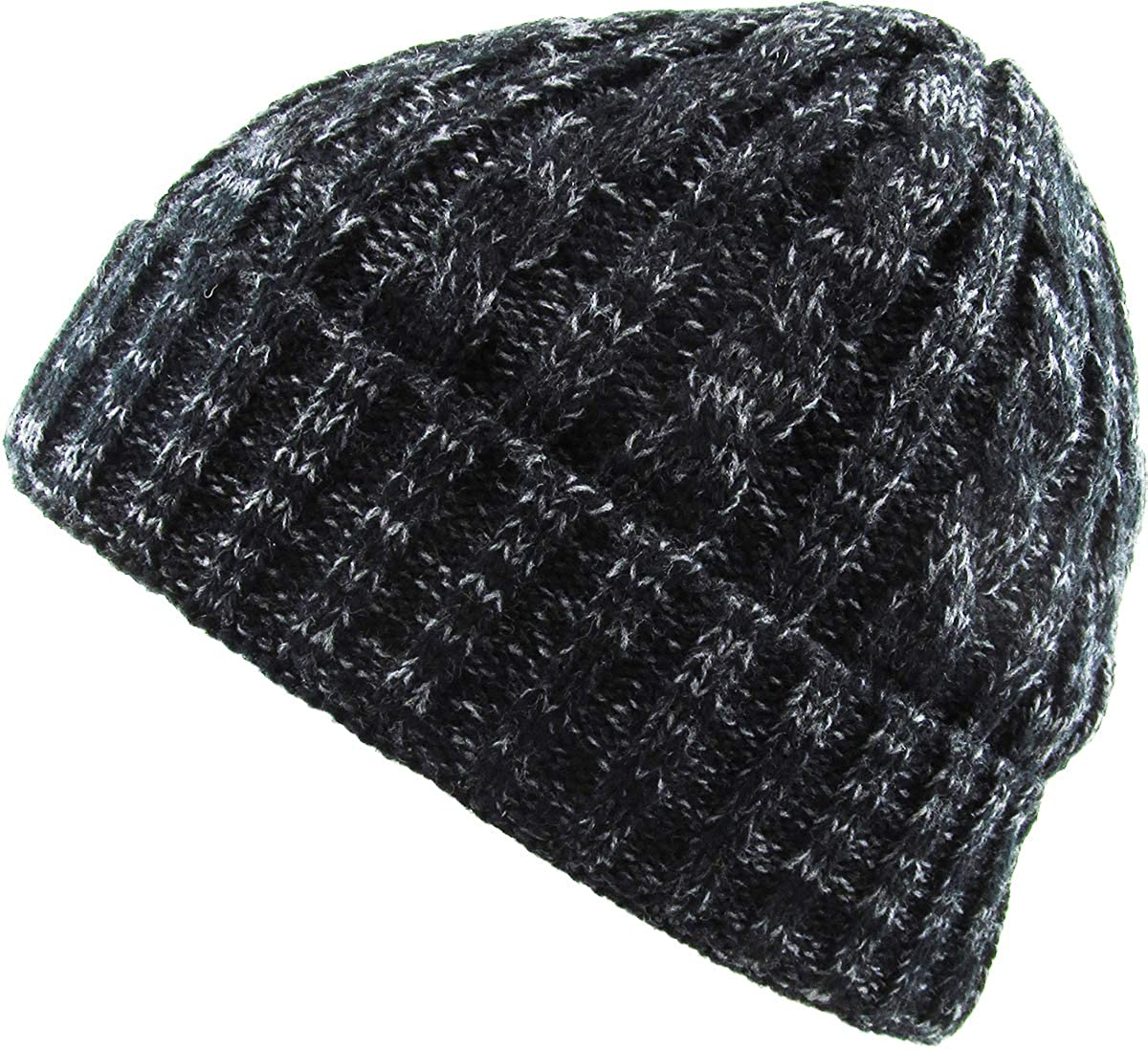039ca1bcfaa Amazon.com  KBW-245 BLK Heather Color Thick Cable Knit Beanie Skull Cap  Unisex Winter Hat  Clothing