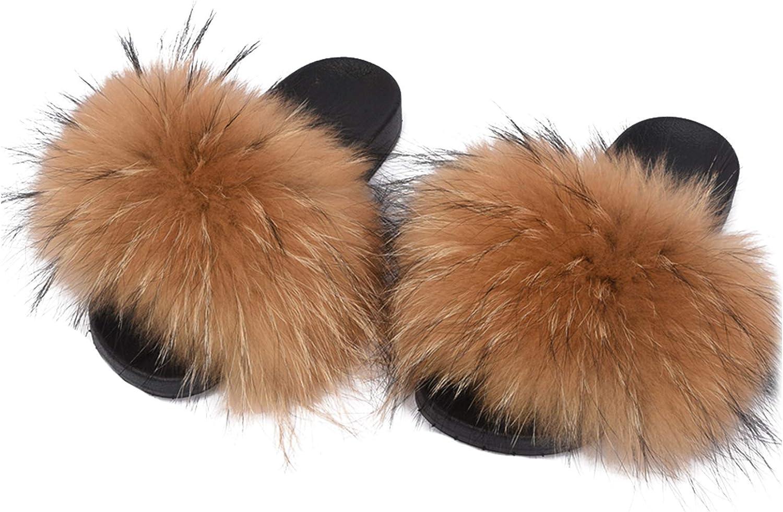 Valpeak Fur Slippers Slides for Women Open Toe Real Fox Fur Slippers Girls Fluffy House Slides Outdoor