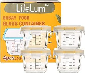 Lifelum Glass Baby Food Storage Jars Containers 4 Sets 5.4oz Baby food Jars with Lids Glass Food Storage Freezer Safe Airtight Leak-Proof Small Homemade Food Storage Oven& Microwave&Dishwasher Safe