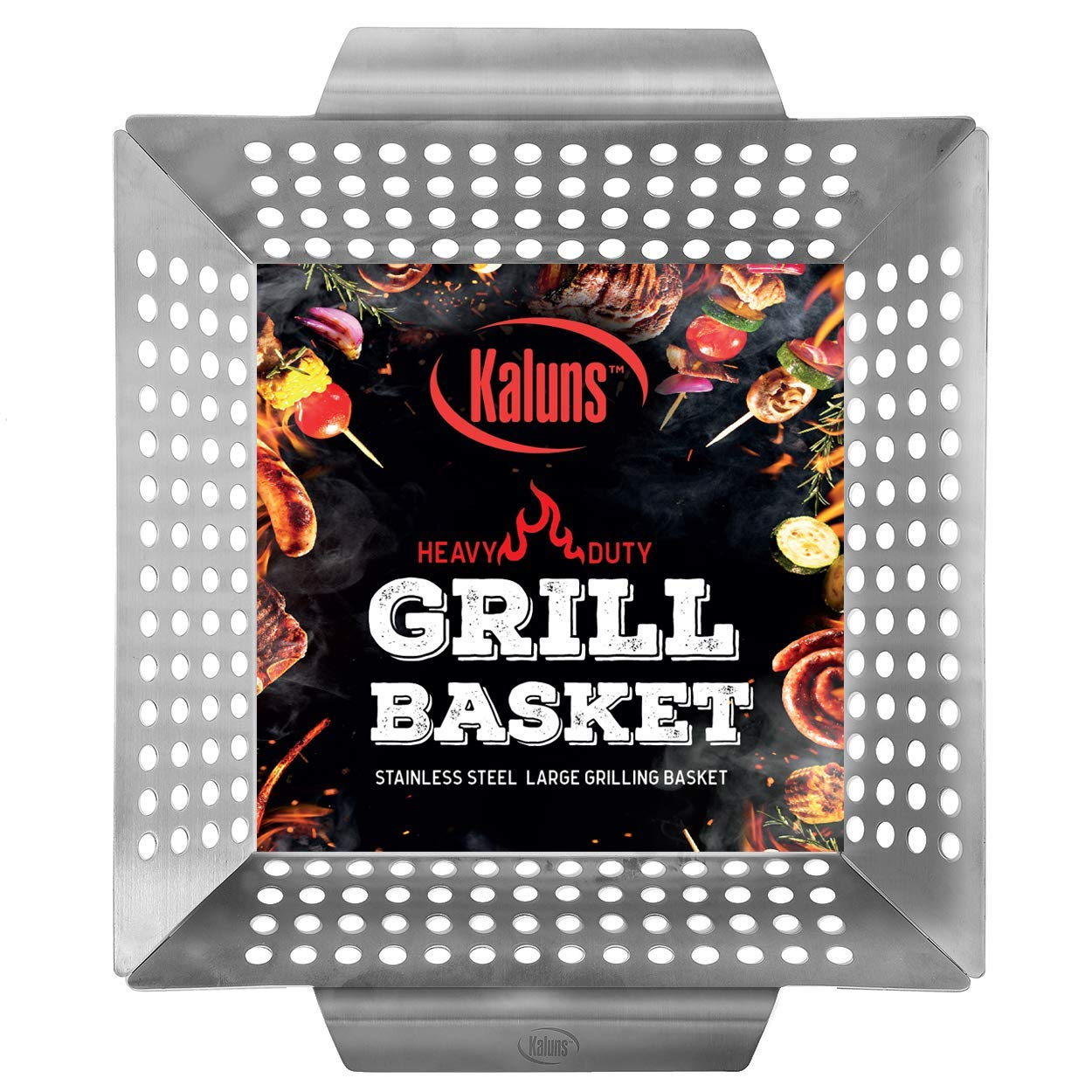 Kaluns Grill Basket - Best Grilling Basket for Vegetables and Shrimp - Heavy-Duty Stainless Steel Material - Perfect Size Fits Most Grills - Great for BBQ or Oven Use BBQ Accesso by Kaluns