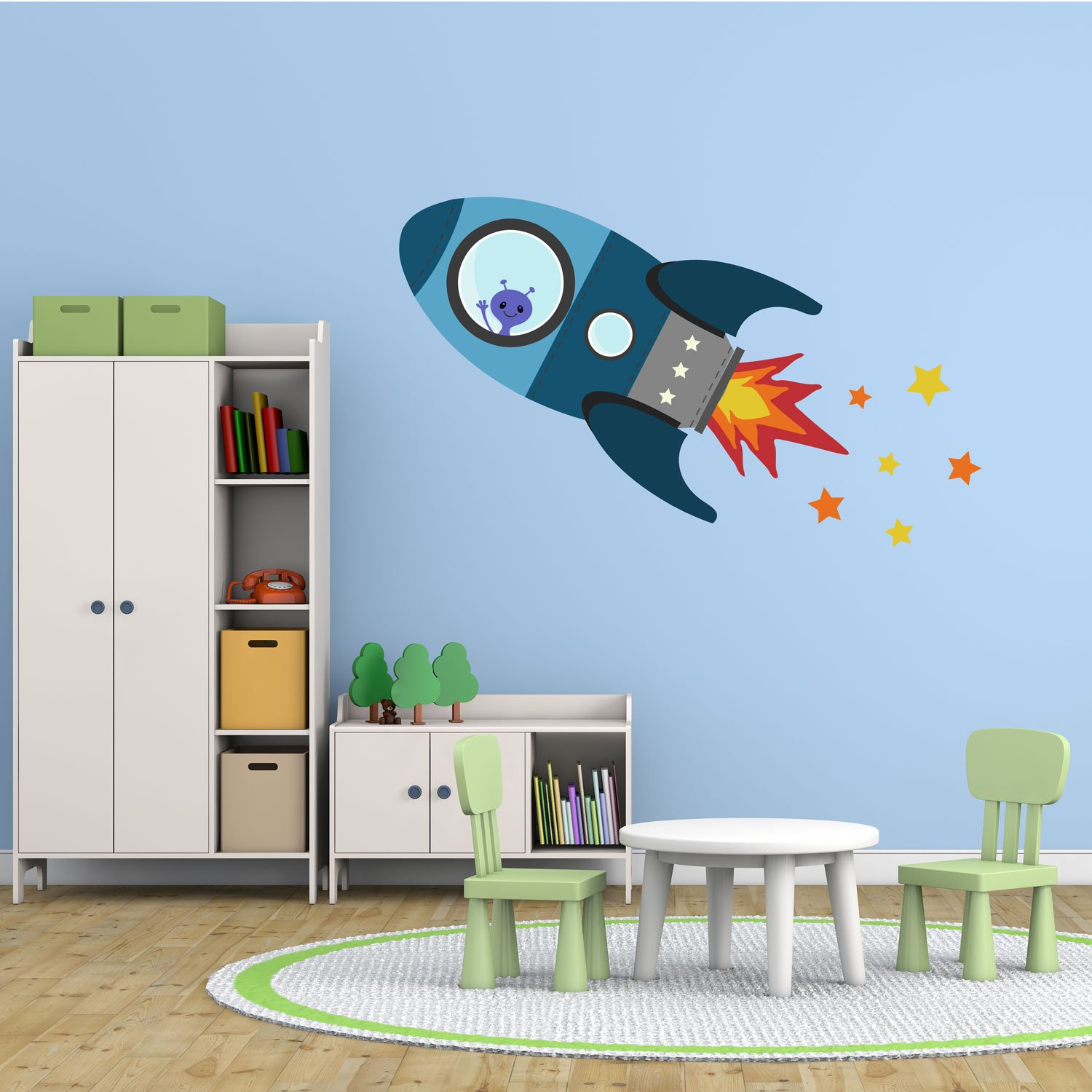Flying rocket wall sticker (Regular size in Red) | Perfect for creating a space themed nursery or bedroom Stickerscape