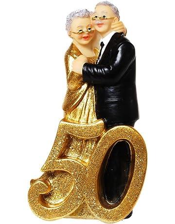 Oro Boda Par con número 50, polystone, aprox. 14,5 x 8