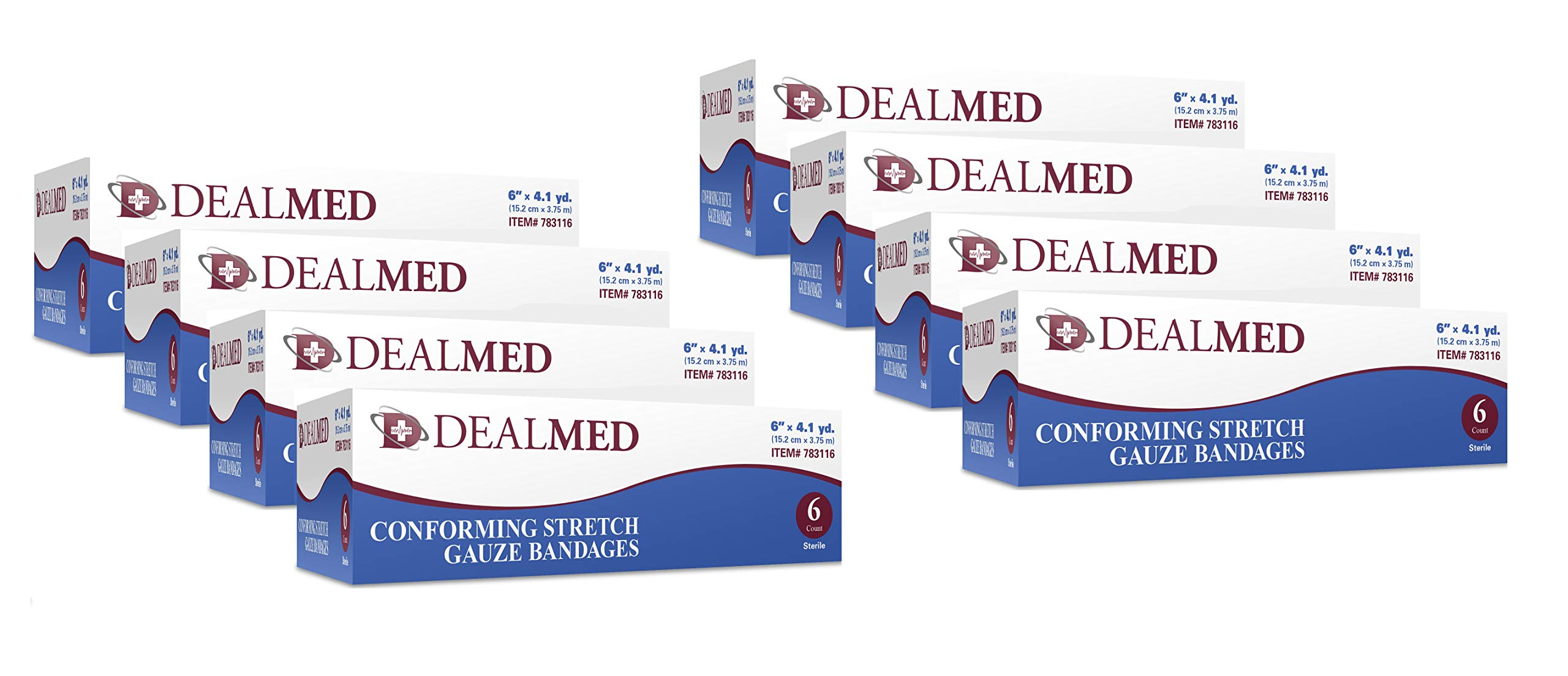 Dealmed 6'' Sterile Conforming Stretch Gauze Bandages, 4.1 Yards Stretched, 6 Rolls/Box - 48 Count